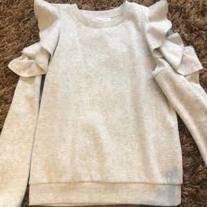 Rebecca Minkoff open sleeve sweatshirt light gray.